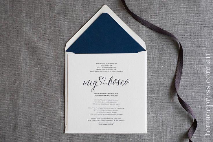 Envelope liners enhancing the overall look #letterpress #terracepress #wedding #stationery #invitation #envelopeliner