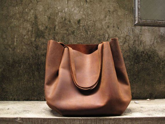 Hand-stitched Brown Leather Double Strapped Shoulder Bag - featured on front Page of Etsy