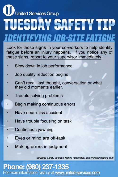 This week's Tuesday Safety Tip is about Identifying Fatigue.  Fatigue is the condition of being physically or mentally tired or exhausted. Extreme fatigue can lead to uncontrolled and involuntary shutdown of the brain.  United Services is dedicated making safety information available to our employees and customers to further emphasis our safety culture. The credit for this week's safety information was provided by the Safety Toolbox Talks.  #safety #safetytips #fatigue #tips #nuclearsafety