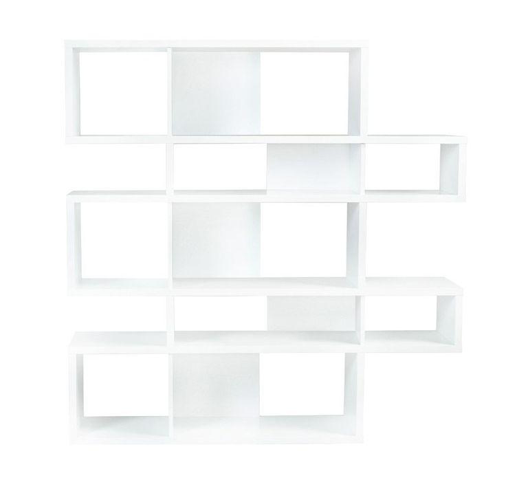 London+Reol+-+Hvid/Hvid+-+Flot+asymmetrisk+reol+i+fem+sektioner.+Reolen+er+i+en+lækker+lakeret+hvid+og+har+i+fem+af+hylderummene+hvid+bagbeklædning+-+de+øvrige+rum+er+uden+bagbeklædning.+Det+moderne+og+minimalistiske+design+er+perfekt+i+det+stilrene+hjem+med+et+funky+twist.