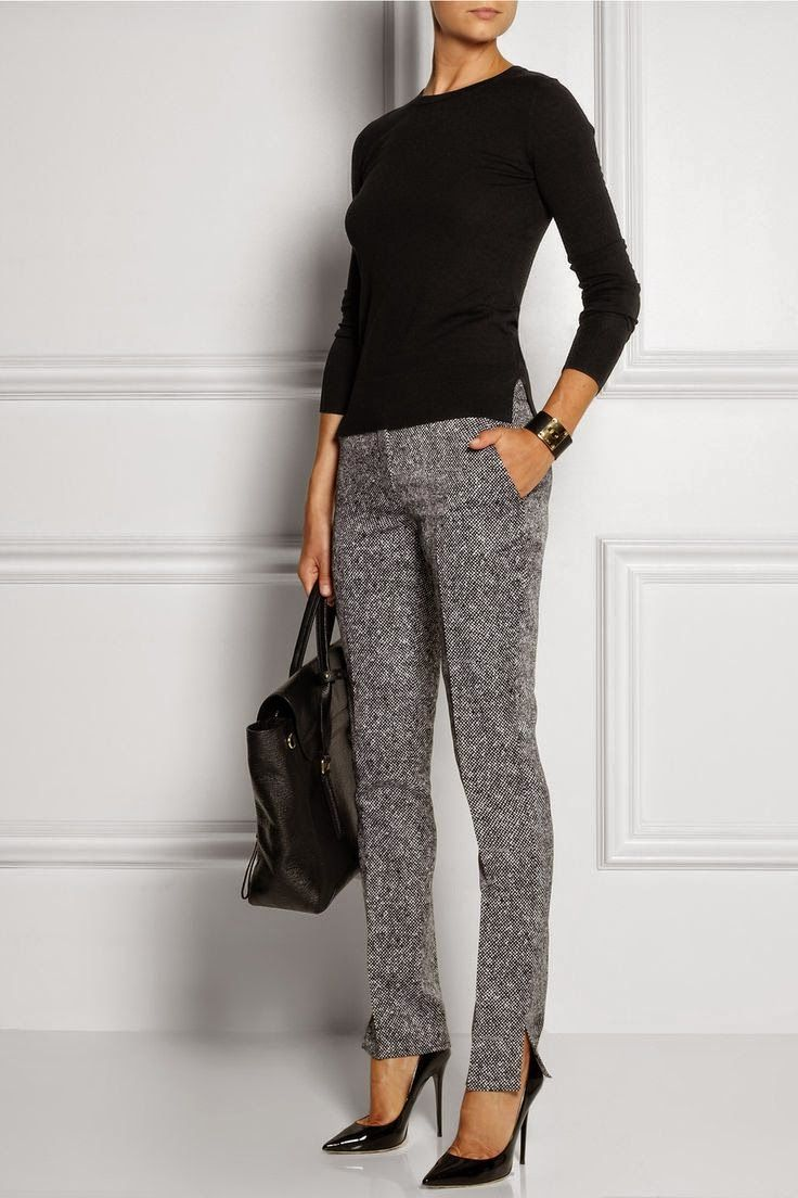 Black t shirt grey pants - Glamour Haute Couture Luxury Fashion Chic Style Designers And