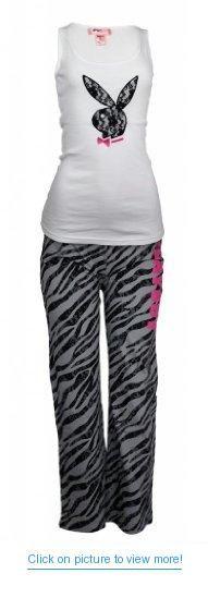 Playboy Womens 2 pcs Lounge Pajamas Pants with Lace Bunny Logo on Tank Top