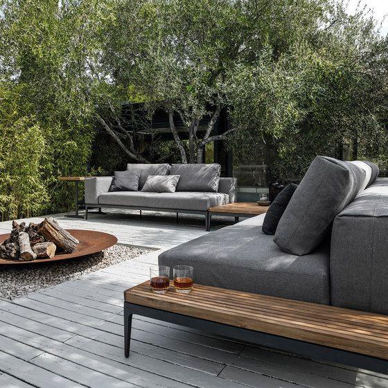 Feuerstelle, Garten, Feuerschale, Loungemöbel, Sofa, Holz, Stein