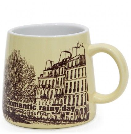 Share your lovable thoughts with your loved ones over a rainy day in a most romantic manner while sipping your favorite brew. Featuring a wonderful city design in brown over a dull shade of light yellow, this mug measures 3 X 3.5 inches.