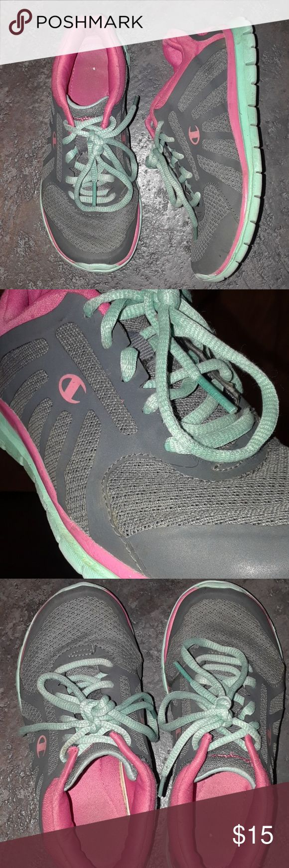 Little Girls 13 CHAMPION Sneakers Gray Pink Green Smoke Free and clean home!  💰Save on shipping and BUNDLE from my closet to get the most out of your buck!   Little Girls size 13 CHAMPION Sneakers.  Gray, pink and sea foam green. Gently used. No major flaws. See pics for normal wear.  Laces are in tact.  Super light weight and comfortable.    Check out my closet for other great deals for Men, women,  boys, girls and infants. Shirts pants jeans boots shoes hoodie hat new extra  large medium…