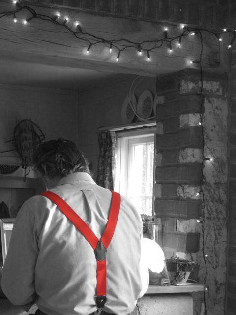 Man wearing red braces.