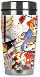 Kandinsky's  Art Travel Mugs are stainless steel with soft neoprene insulated with spill resistant lids. Made in the USA