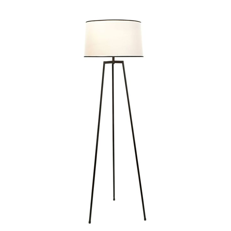 Harvey black cream floor lamp