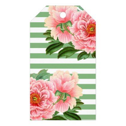 Pink Peonies Green Stripes Gift Tags - romantic gifts ideas love beautiful