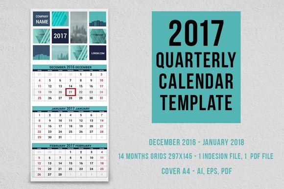 2017 quarterly calendar template by Peliken on @creativemarket