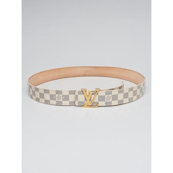 Pre-owned Louis Vuitton Damier Azur LV Initiales Belt ($325) ❤ liked on Polyvore featuring accessories, belts, canvas leather belt, louis vuitton belt, buckle belt, leather belts and bear belt