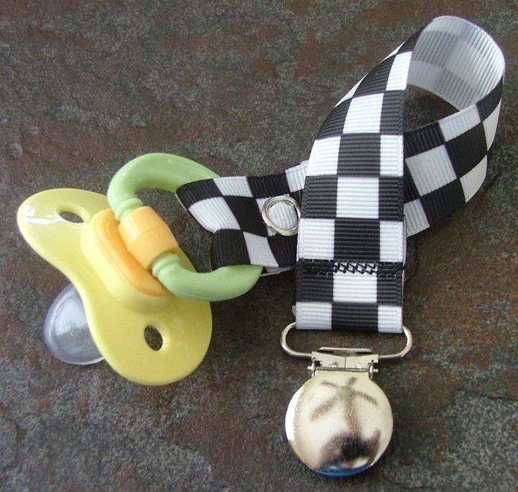 Pacifier Clip Nascar Checkered Flag Black and by TootandPuddle, $3.50
