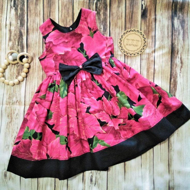 Christmas Dress, Poinsettia Print Christmas Dress