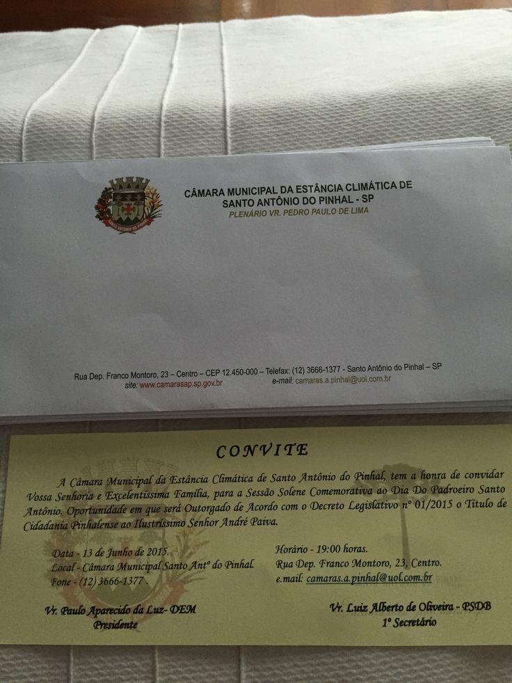A câmara municipal de Santo Antônio do Pinhal concedeu o título de cidadão Pinhalense ao Sr. André Paiva (proprietário da Pousada Quinta dos Pinhais) pelos serviços prestados à cidade.