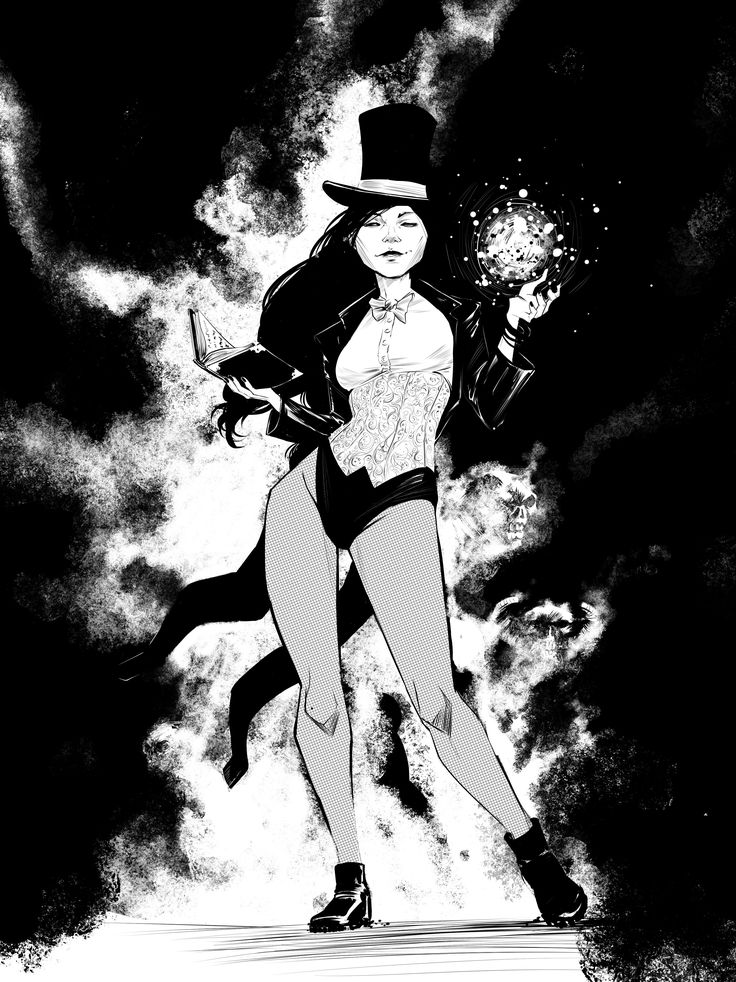 Here's some digital inks of Zatanna, another one of my favorite DC characters. I tried to play around with some of the effect brushes in Manga Studio but quite succeed. Anyone know of any good Manga Studio brush packs?