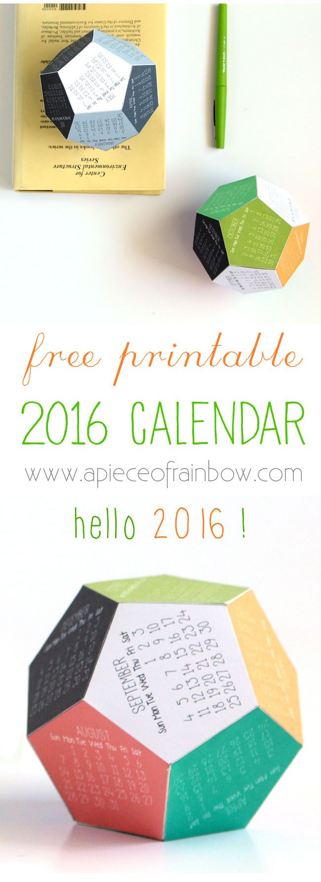 Make a 3D 2016 FREE Printable Calendar : a fun gift and a great Christmas tree ornament ! - A Piece Of Rainbow: