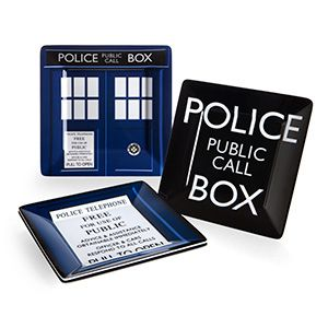 Doctor Who Melamine Square Plate Set. Great for salad or lunch, particularly fish fingers and custard.