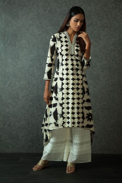 W16-107 - Tie dye kurta embellished with resham work with cut work palazzo pants