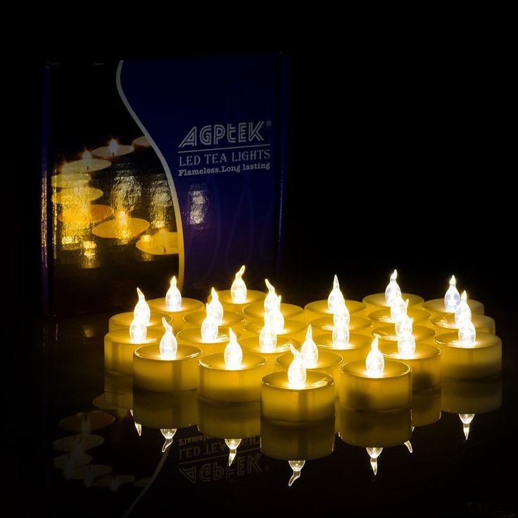 AGPtek® 100 Battery Operated Amber Yellow LED Tealight Candles Flickering Flashing Realistic Light Flameless Heatless Long Lasing Life Wedding Holiday Christmas Thanksgiving Party Light >>> Instant Savings available here : Candles Holders Decor