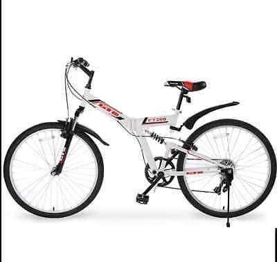 26-034-7-Speed-Folding-Mountain-Bike-Bicycle-Shimano-Hybrid-Suspension-Sports-White