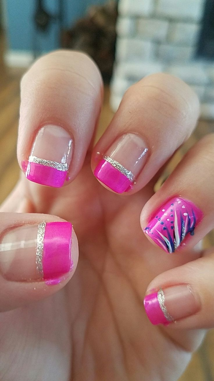 pink french tip nails design glitter
