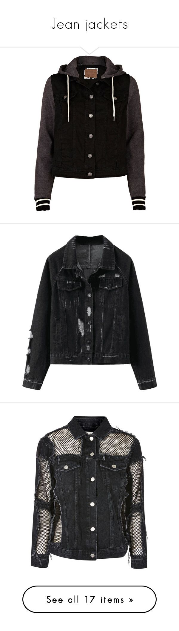 """""""Jean jackets"""" by haileyscomet95 ❤ liked on Polyvore featuring outerwear, jackets, tops, casacos, sale, sleeve jacket, jean jacket, sleeve jersey, grunge denim jacket and hooded denim jacket"""
