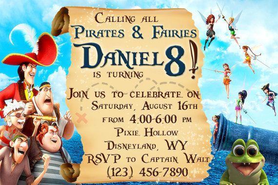 disney fairies birthday party   PERSONALIZED Printable Disney PIRATE FAIRY Birthday Party Invitation
