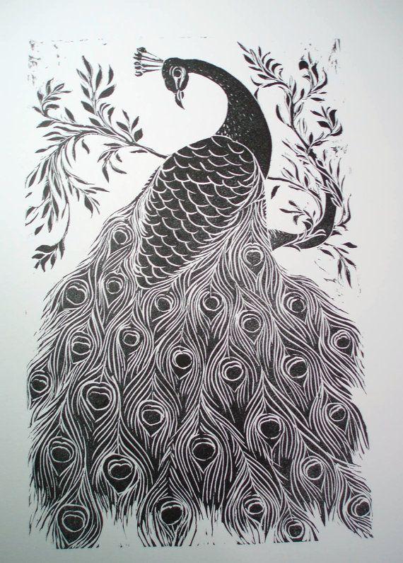 Black And White Peacock Original Print Peacock