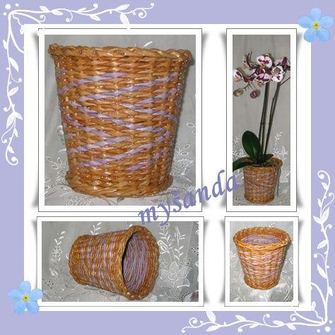 moje tvořeníčko - Fotoalbum - PLETENÍ Z PAPÍRU 2009 - Květináče, obaly na truhlíky, závěsné květináče