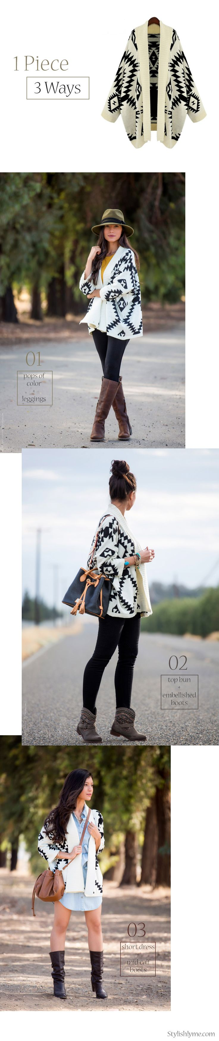 1 Piece 3 Outfits:  Aztec Print Cardigan - Visit Stylishlyme.com for more outfit inspiration and style tips