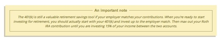 Split retirement investments between 401k and Roth IRA for a total of 15% of your income.