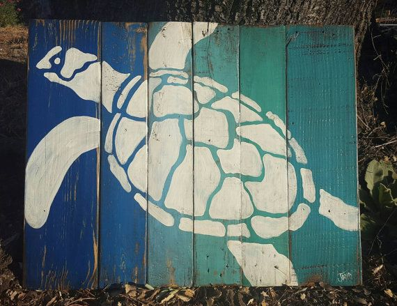 Hand painted sea turtle on painted and distressed pallet wood. Approx 26 x 20. Ready to hang with cable across the back. I can make this a different color for you, just let me know. If you need a rush order I can usually accommodate you, just let me know. Thanks