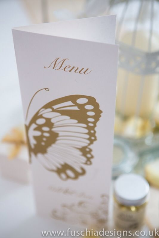 Wedding stationery, butterfly menu. www.fuschiadesigns.co.uk
