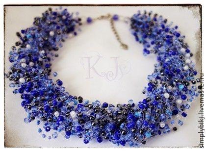 """Колье """"Все цвета неба"""" - синий,цвет неба,облака,воздушное колье,оттенки синего. Multistrand Bead Crochet Necklace. Beadwork Necklace."""