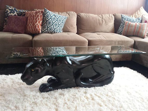 Mid Century Black Panther Coffee Table With Glass Top 41 Glass