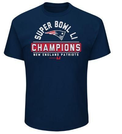 NFL New England Patriots Super Bowl 51 Champions Blue T-Shirt