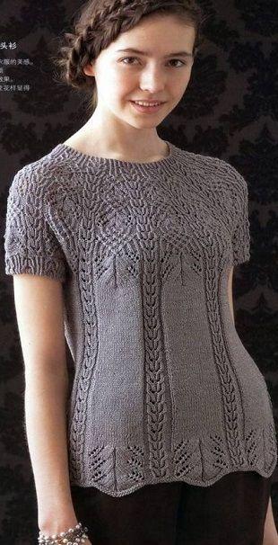 Изящный, женственный пуловер, с круглой кокеткой, связанной узором со сложными переплетениями, которая постепенно переходит в маленький аккуратный рукавчик. Пуловер связан из пряжи серо-коричневого цвета. Длина кокетки составляет 20 сантиметров. Вязание такого пуловера раскрывает виртуозное владение спицами опытными мастерицами, требует особого внимания при вязании и аккуратности. Чтобы связать этот пуловер необходимо запастись терпением. Далее - схемы вязания пуловера спицами.