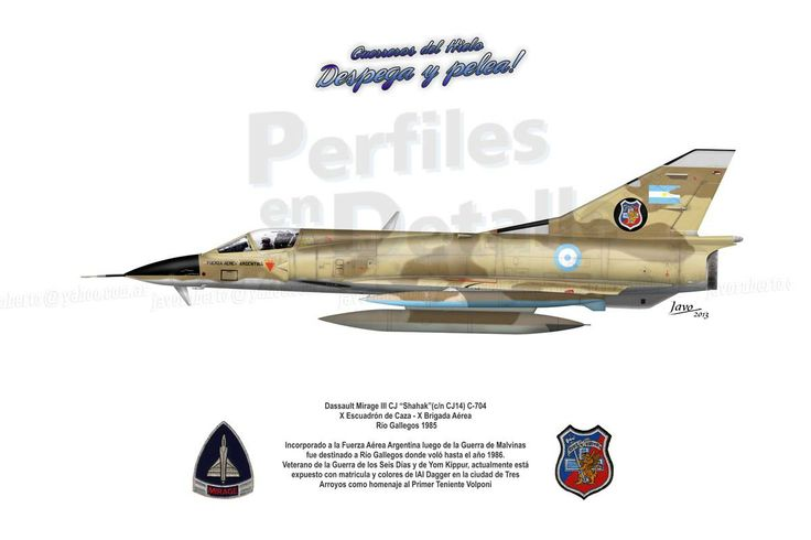 """Dassault Mirage III CJ """"Shahak""""(c/n CJ14) C-704 X Escuadrón de Caza  X Brigada Aérea - Río Gallegos 1985"""