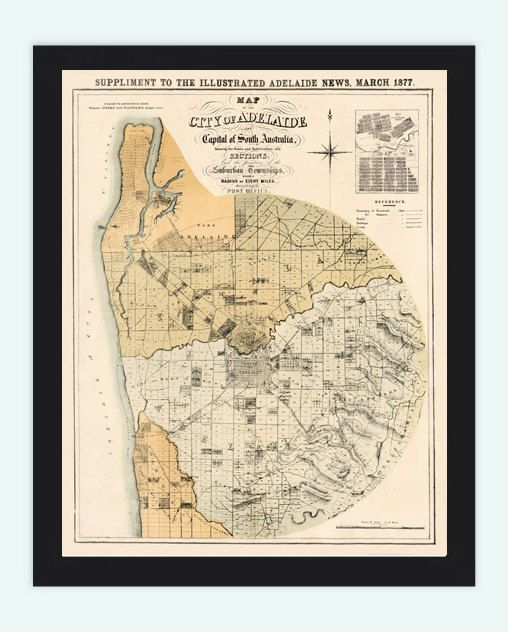 Vintage Map of Adelaide City , Australia Oceania 1877