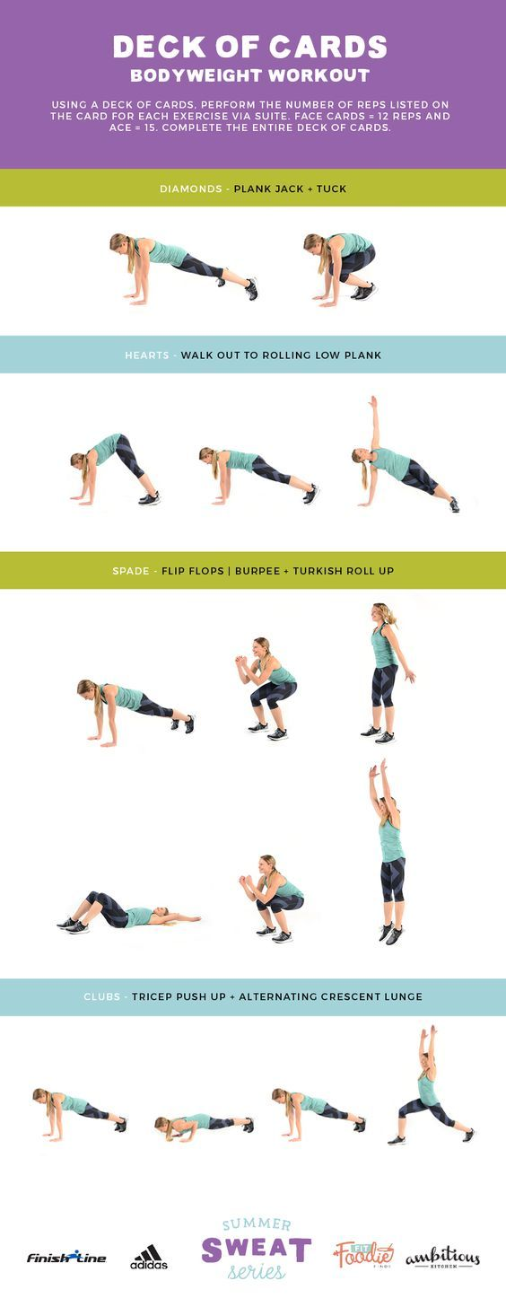 Deck of Cards Workout! Such a fun way to get in exercises because you never know what move is next!