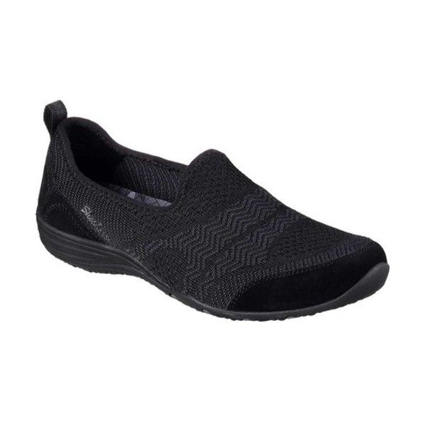 Women's Skechers Unity Moonshadow Slip-On ($67) ❤ liked on Polyvore featuring shoes, sneakers, black, casual, slip-on shoes, slip on sneakers, grip trainer, black slip-on shoes, skechers shoes and mesh sneakers