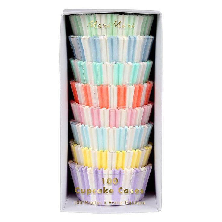 Pastel Striped Cupcake Cases