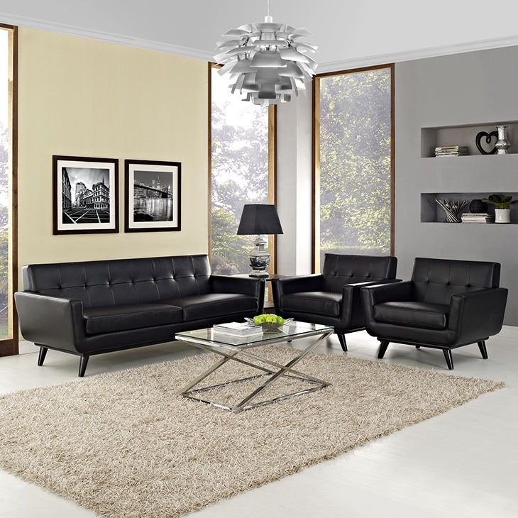 Engage 3 Piece Leather Living Room Set, Black - Gently sloping curves and large dual cushions create a favorite lounging spot. Whether plopping down after a long day at work, settling in with coffee and brunch, or entering a spirited discussion with friends, the Engage Living Room Set is a welcome presence in your home. Buttons create eye catching appeal; adding depth that brings your sitting decor to center stage. Four rubber wood legs and frame supply a solid base to the comfortable…