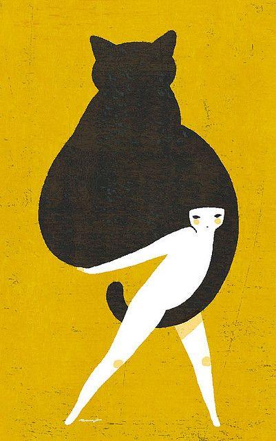 #graphic #art | attention to #composition: Graphic Design, Kitty Cat, Inspiration, Cat Illustrations, Black Cats, Yokotanji, Yoko Thinner, Poster, Art Illustration