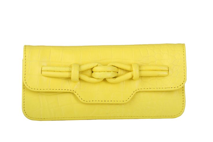 Yellow Wallet - Grace Knot - Canary Croc Leather