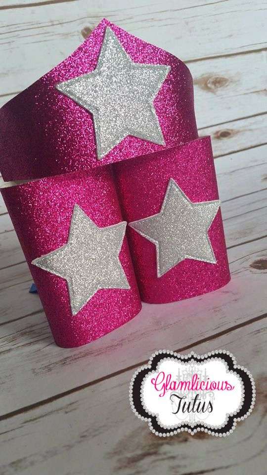 Pink Super Hero arm cuff & Tiara Wonder Woman by GlamliciousTutus