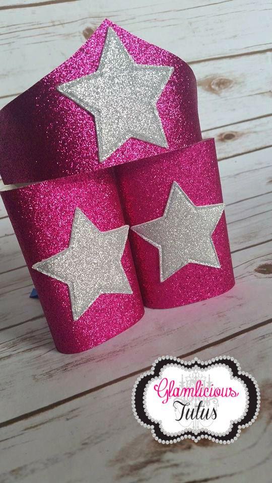 Pink Super Hero arm cuff & Tiara Wonder Woman by GlamliciousTutus