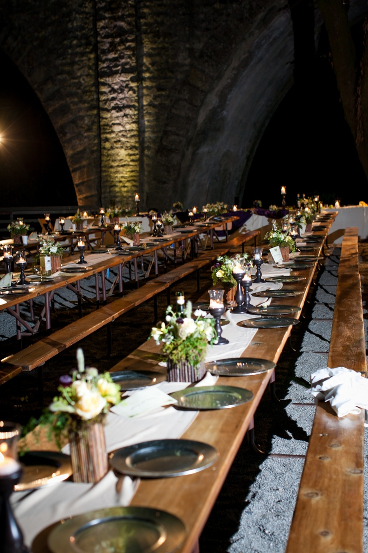 REAL WEDDING PHOTO: guest tables at night. #wedding #lighting #princessbride. Venue: Saratoga Springs