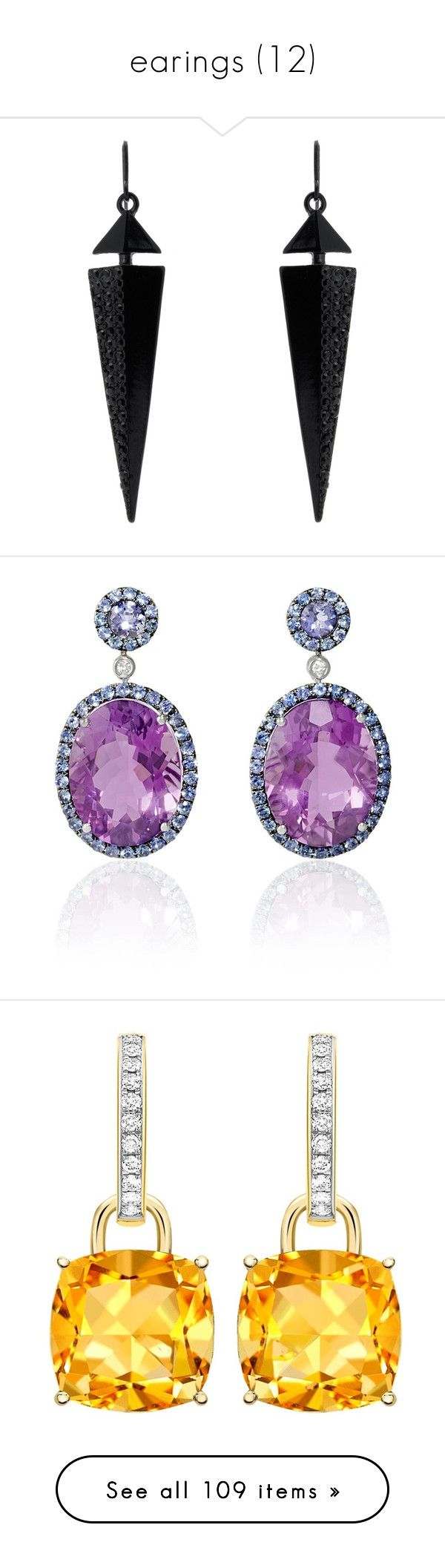 """earings (12)"" by geniusmermaid on Polyvore featuring jewelry, earrings, accessories, brincos, black, drop earrings, earring jewelry, purple earrings, long diamond earrings and blue sapphire dangle earrings"
