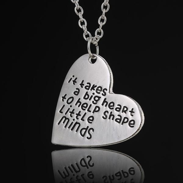 Teacher's Gift:  Silver Heart Necklace